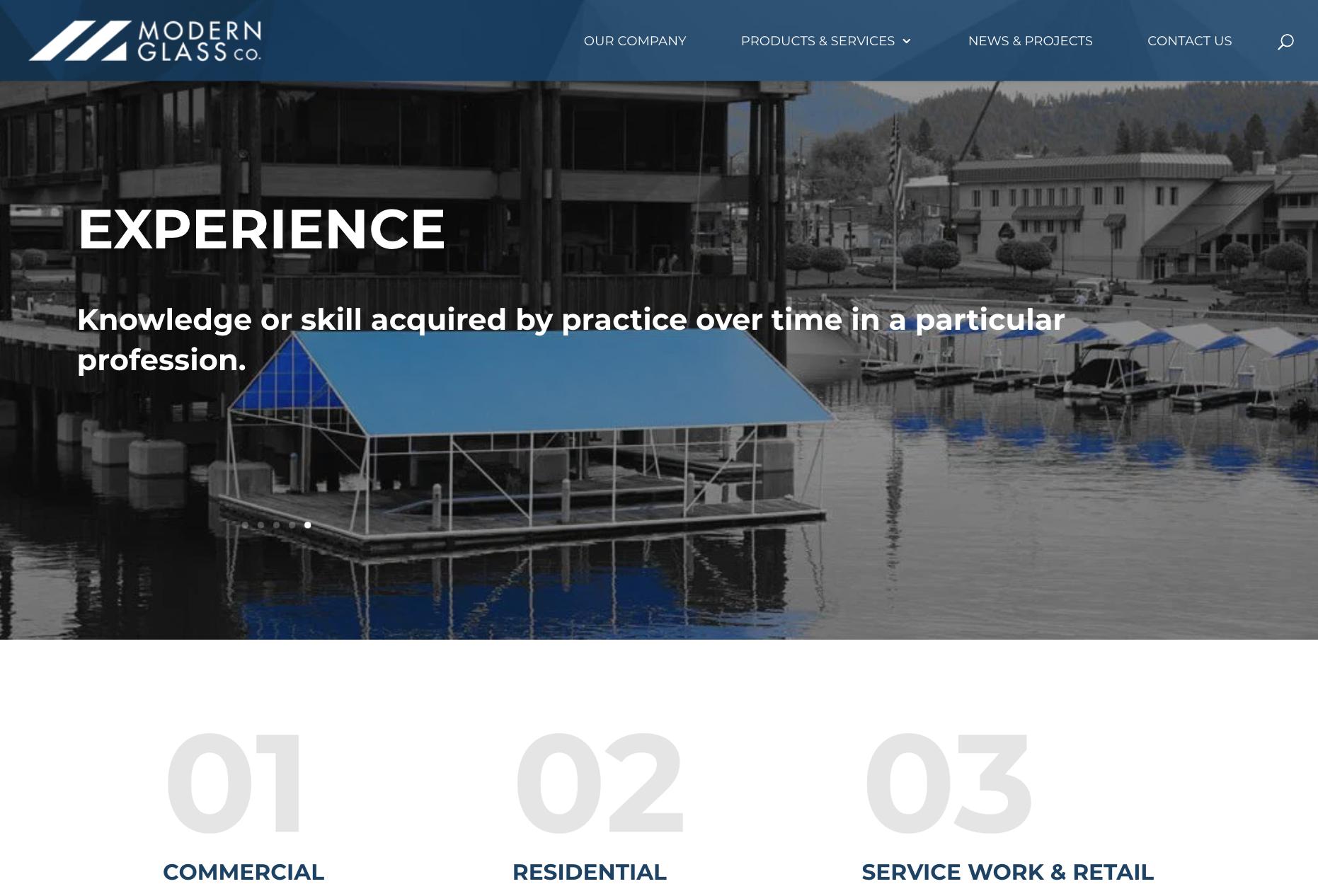 Modern Glass website screenshot