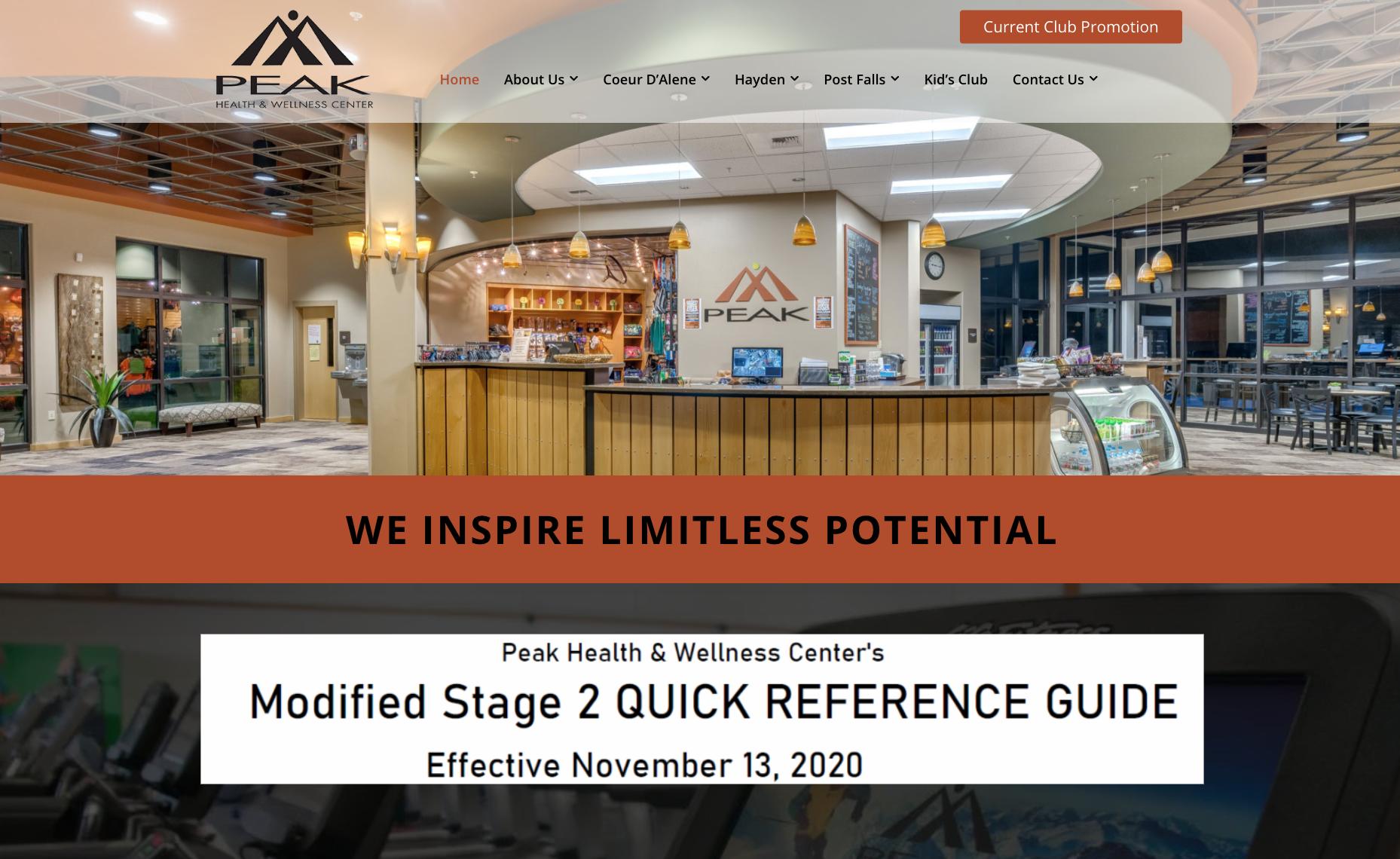 Peak website screenshot