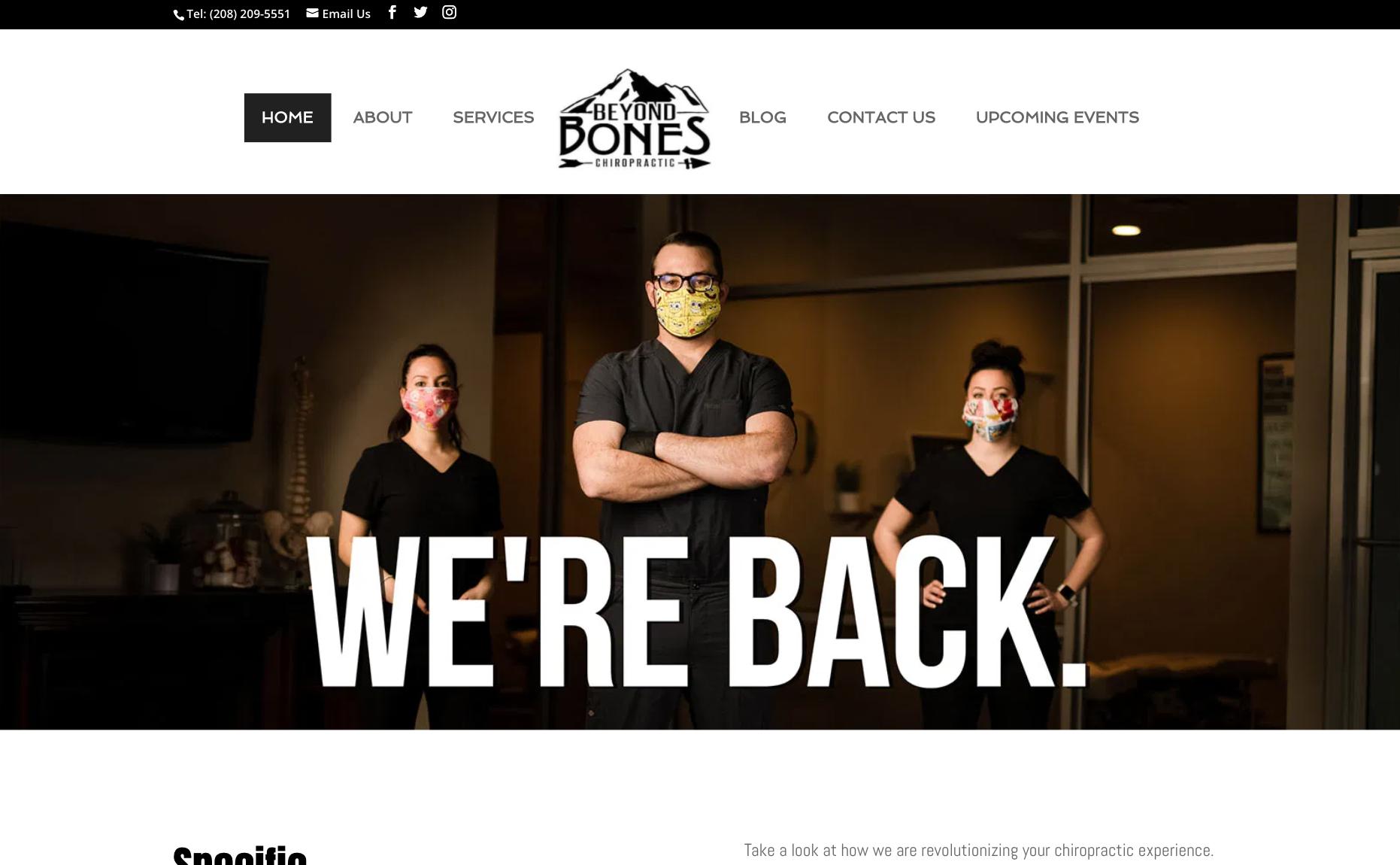 We're back website screenshot